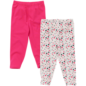 Girls 2 Pack Leggings - Spot & Pink (2-8yrs 12 Pack)
