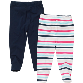 Girls 2 Pack Leggings - Stripe & Navy (2-8yrs 12 Pack)